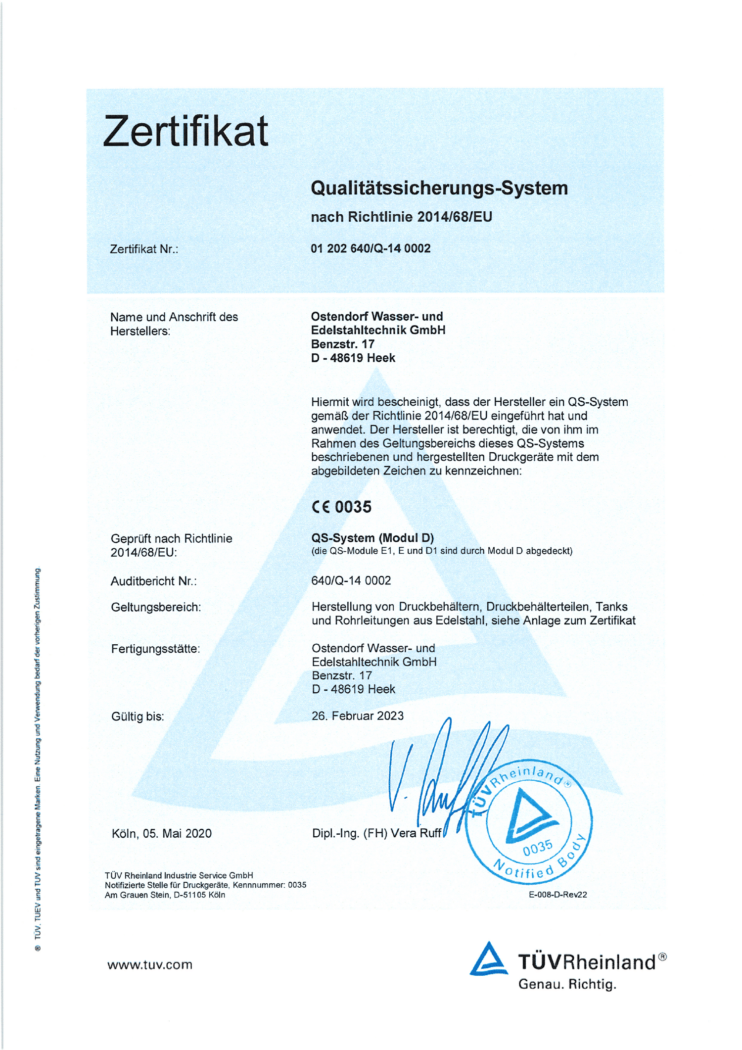Qualitätssicherungs-System nach Richtlinie 2014:68:EU