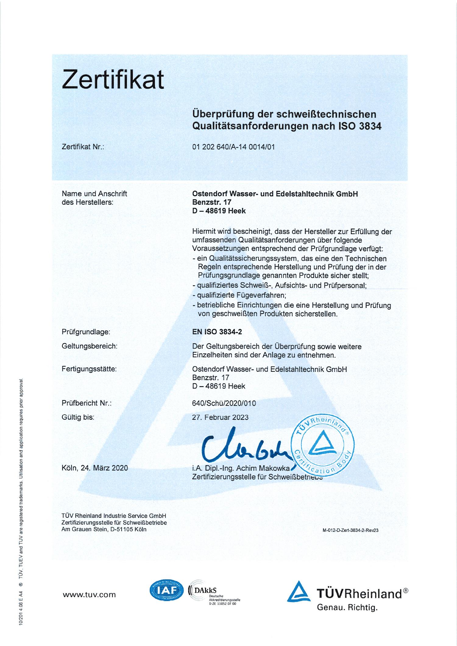 Überprüfung der schweißtechnischen Qualitätsanforderungen nach ISO 3834
